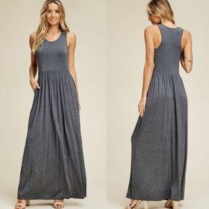 Dresses & Skirts - ✨JUST IN✨MID GREY PLEATED WAIST MAXI TANK DRESS